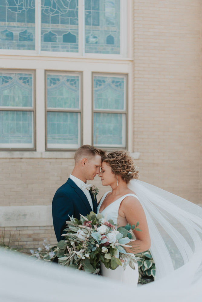 bride and groom portraits at zion church wedding in pickrell-lincoln nebraska