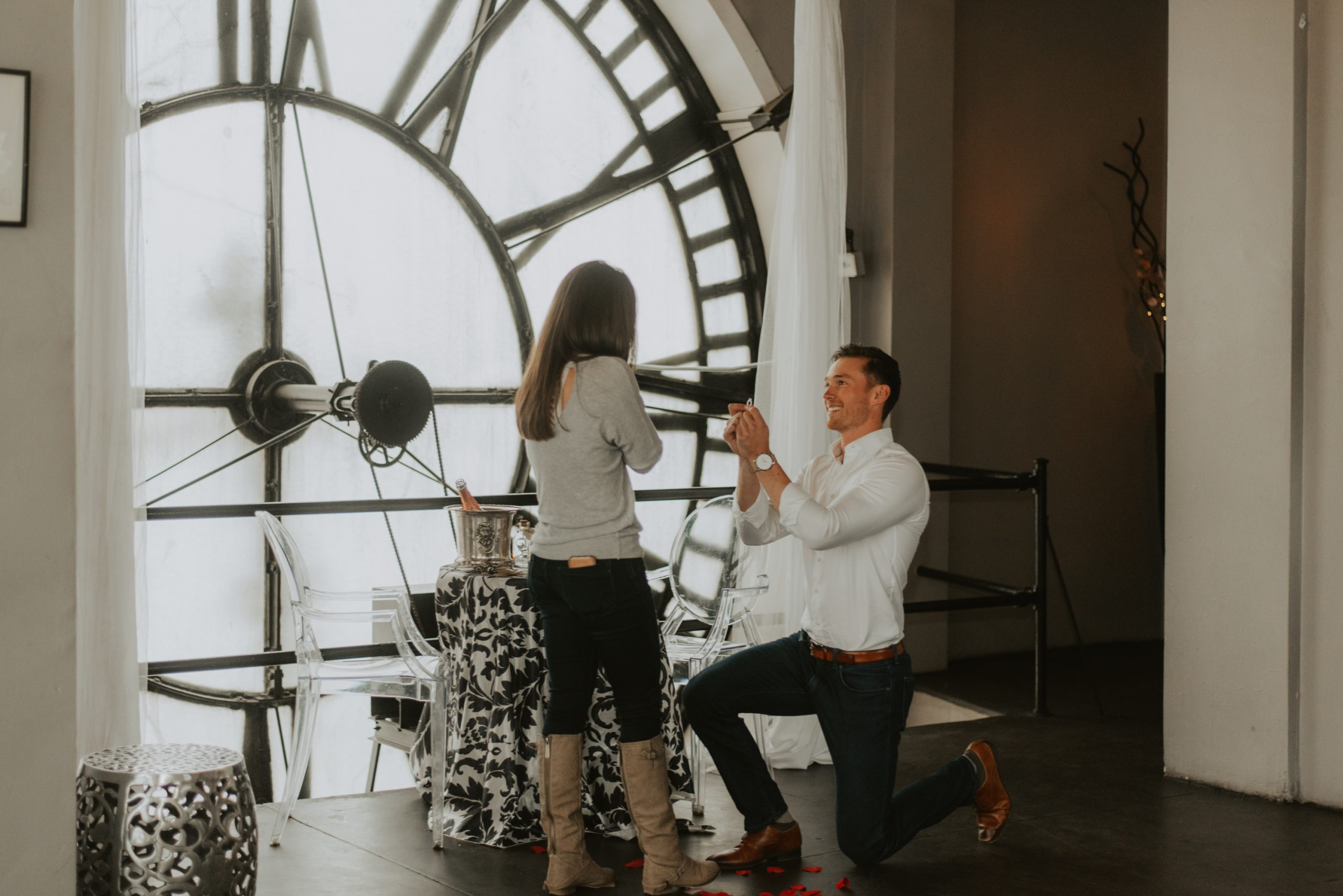 sydney and wills denver proposal at the 16th street clock tower