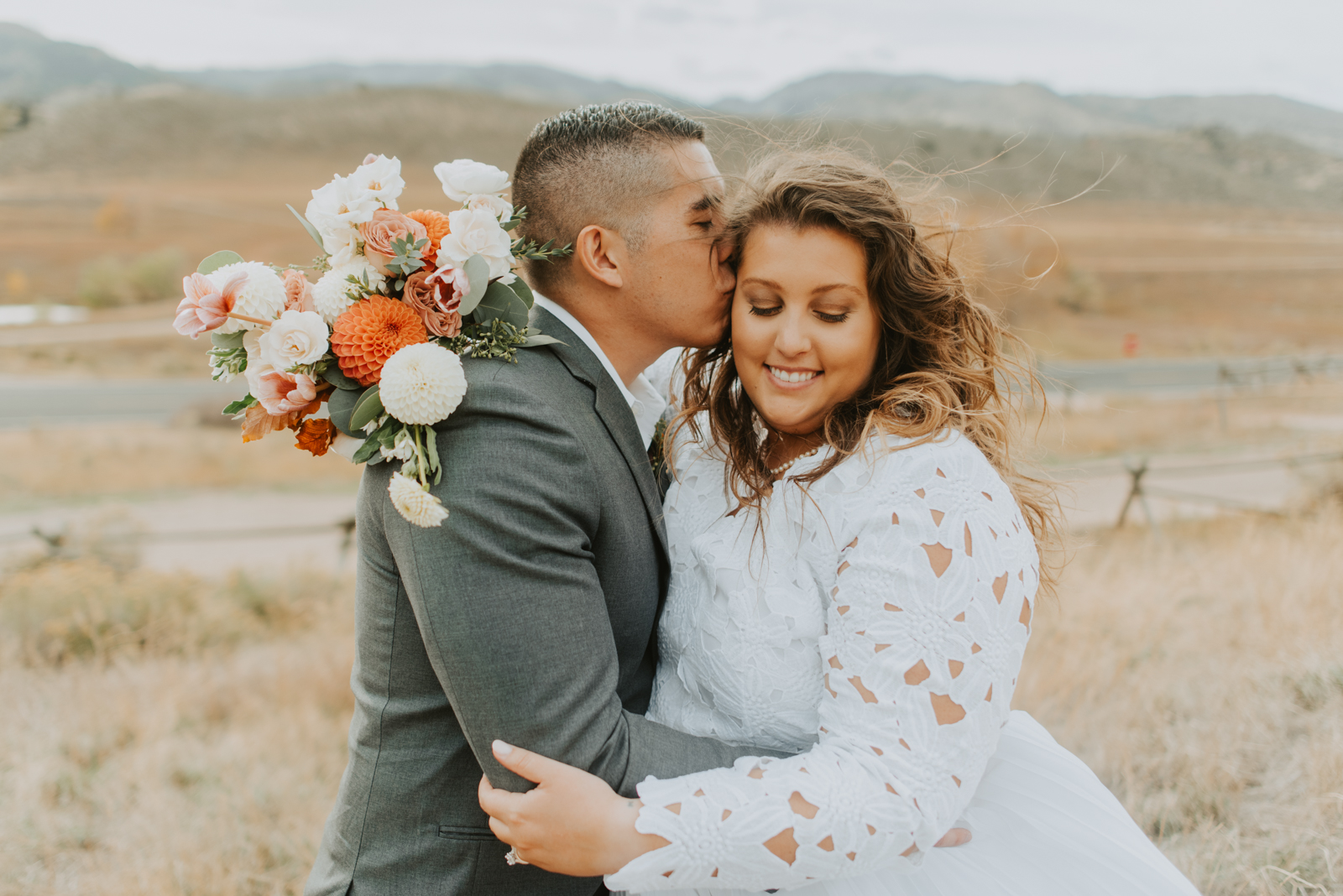 Sarah and corys bouquet details from their intimate fall backyard elopement in Fort Collins Colorado