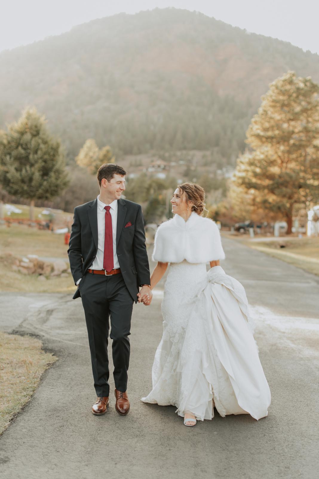 colorado bride + groom portraits at their mountainside winter wedding in Larkspur, Colorado