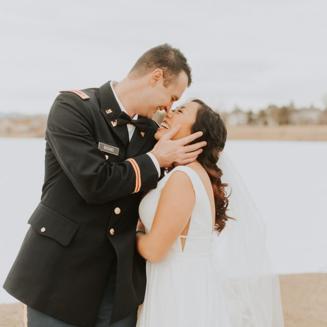bride and military groom at their sunset elopement in littleton colorado