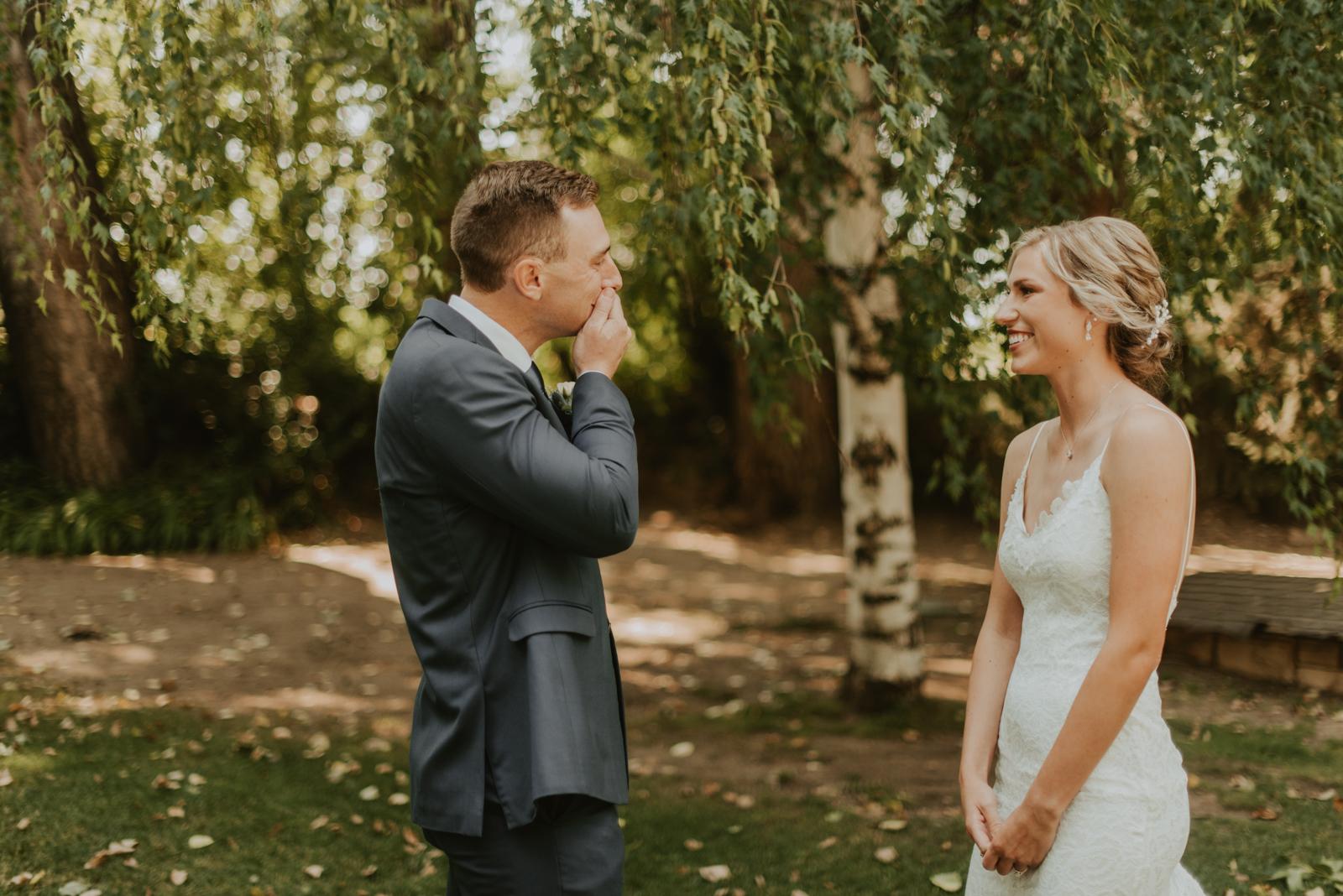 Bride + groom, Savannah + Hank's, first look photo at the Tapestry House by Wedgewood Weddings in Fort Collins, Colorado.
