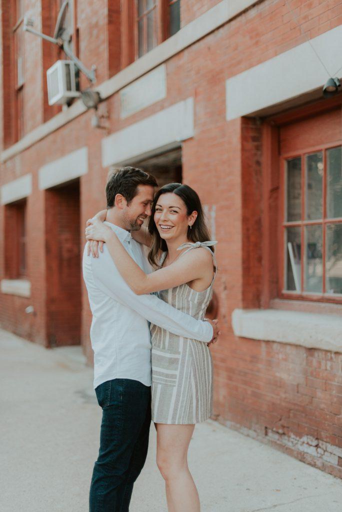 engagement photos at old market downtown omaha, nebraska