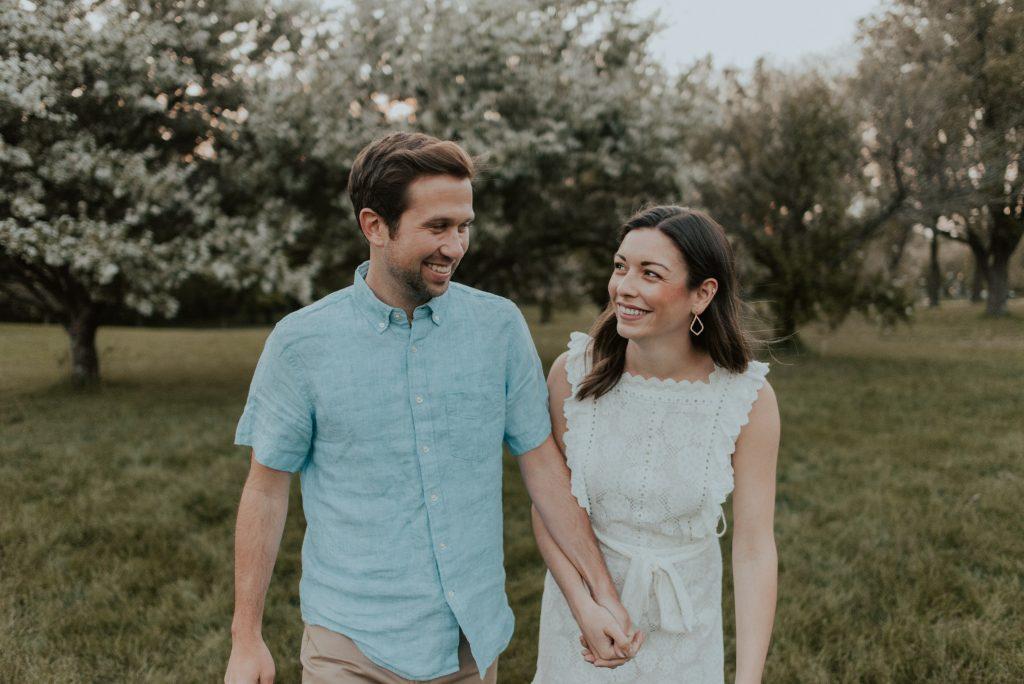 engagement photos at memorial park omaha, nebraska