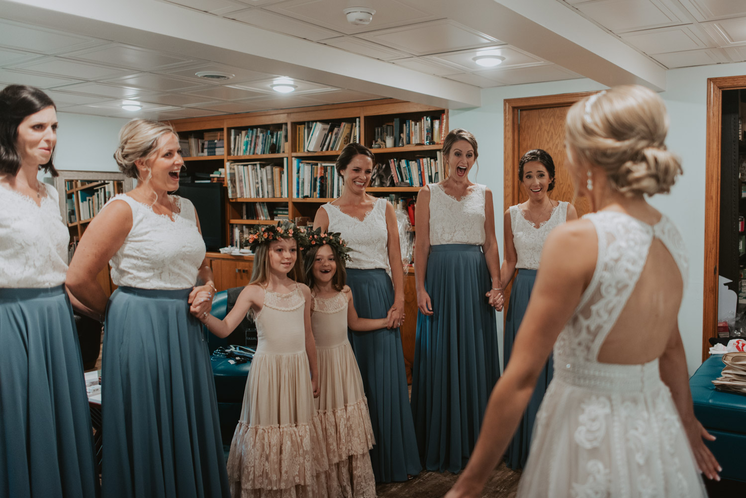 getting ready details with bridesmaids from wedding in lincoln, nebraska