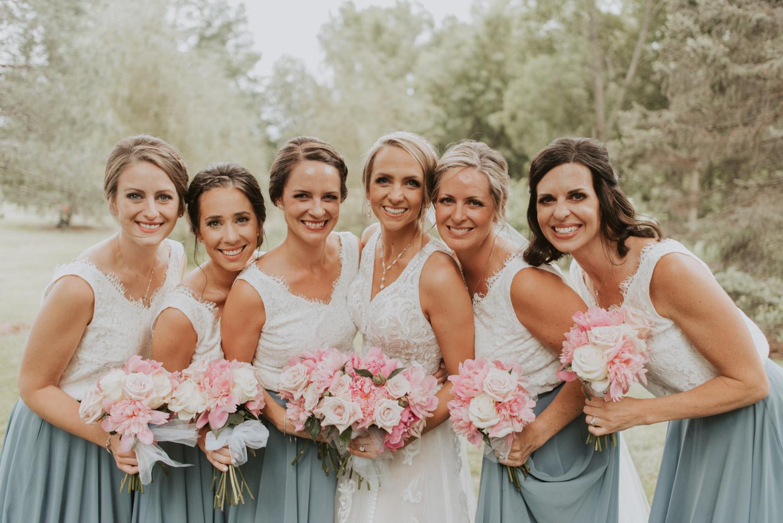 bridal party bridesmaids from wedding in lincoln, nebraska