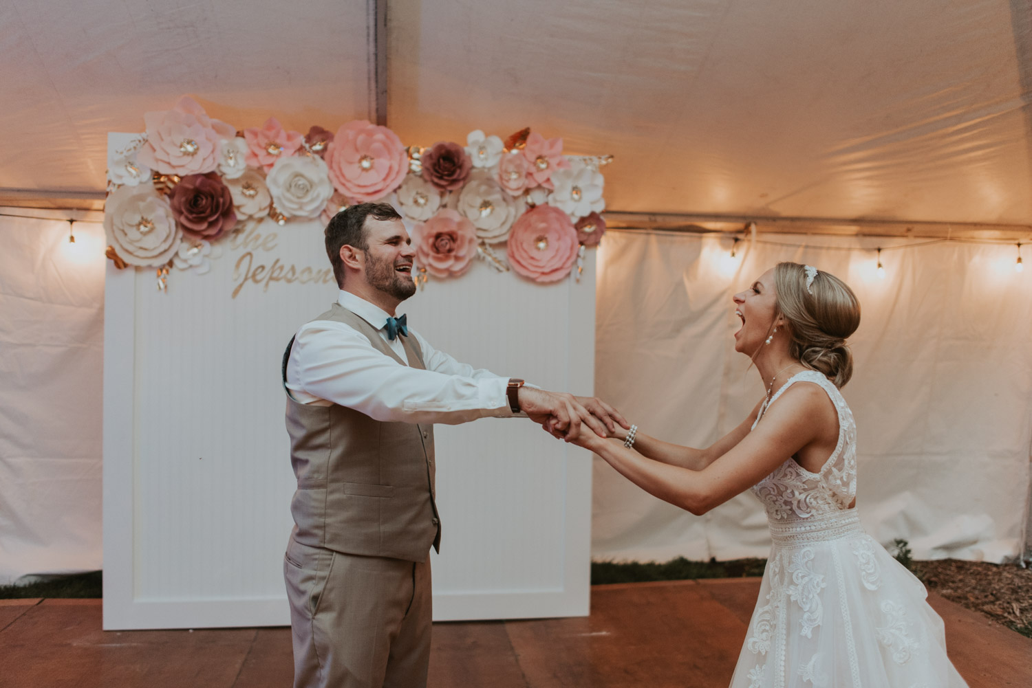 bride and groom first dance at reception at wedding in lincoln, nebraska