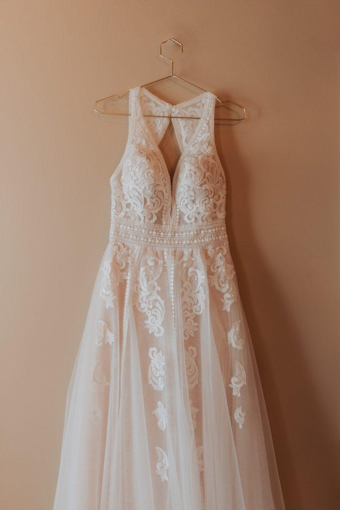wedding dress details from omaha nebraska barn at ackerhurst wedding
