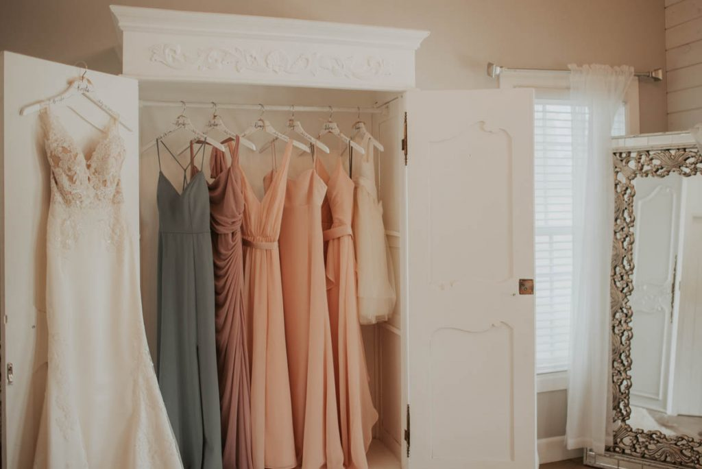 bridesmaids dress in closet from wedding  racoon creek in littleton colorado