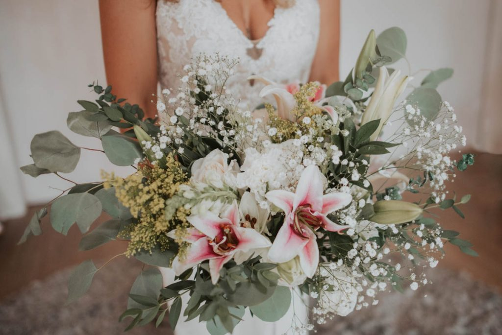bridal bouquet details from wedding  raccoon creek in littleton colorado