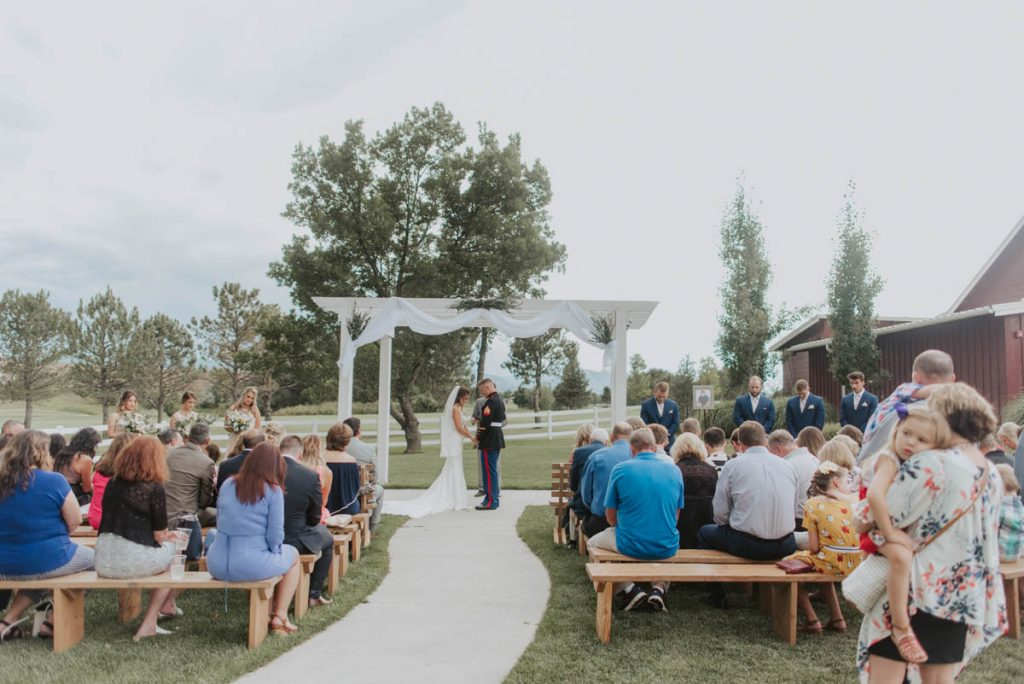 wedding ceremony at raccoon creek in littleton colorado