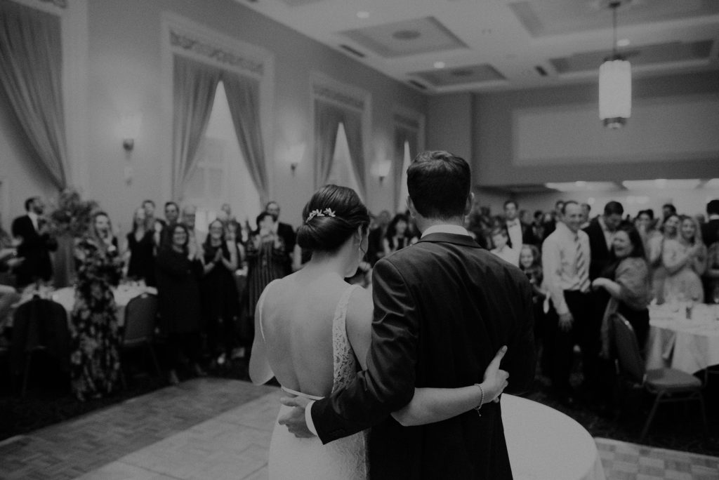 bride and groom at the paxton ballroom in omaha nebraska