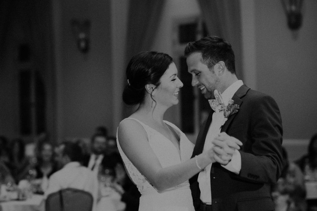 bride and groom first dance at the paxton ballroom in omaha nebraska