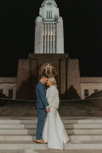 bride and groom city portraits from wedding day in lincoln nebraska