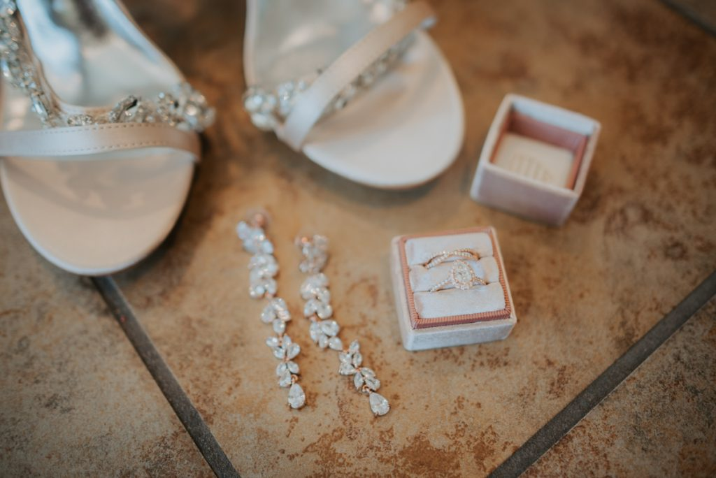 brides shoes and jewelry details from anna and daniels wedding in omaha nebraska