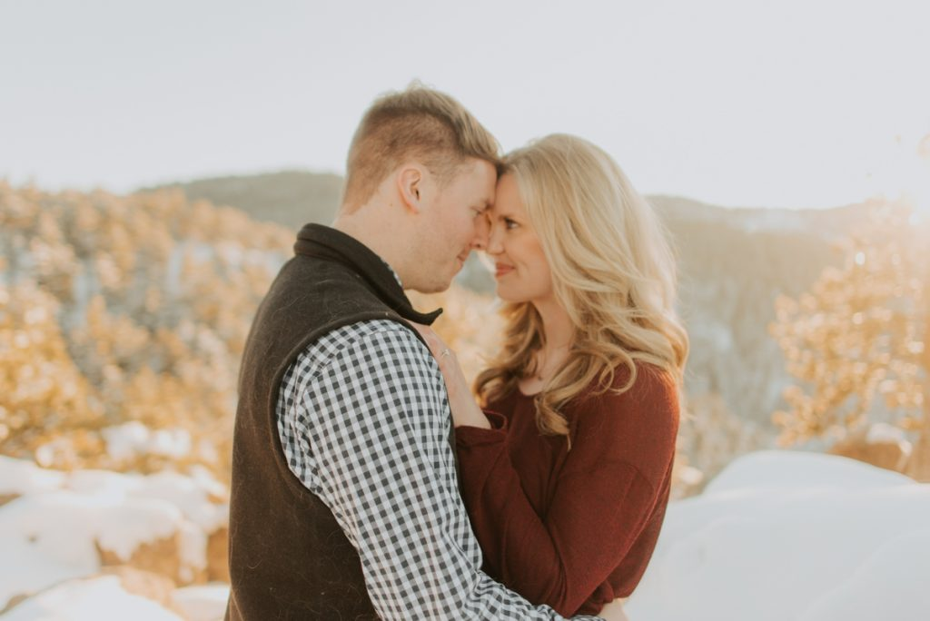 carrie beth and luke at their engagement session at lost gulch lookout in boulder, colorado