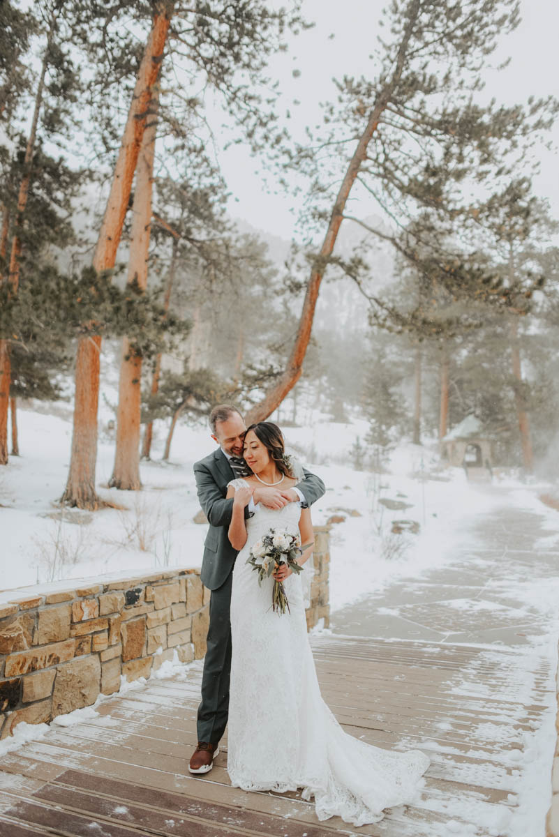bride and groom from intimate wedding at della terra mountain chalet
