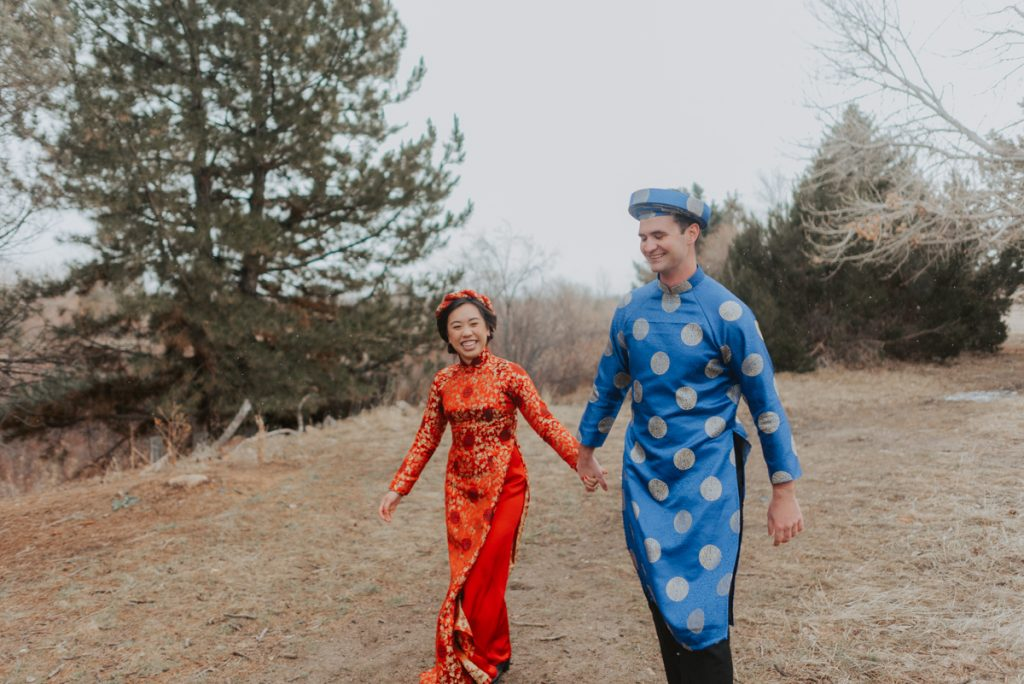 couples photos from traditional vietnamese wedding ceremony in highlands ranch colorado
