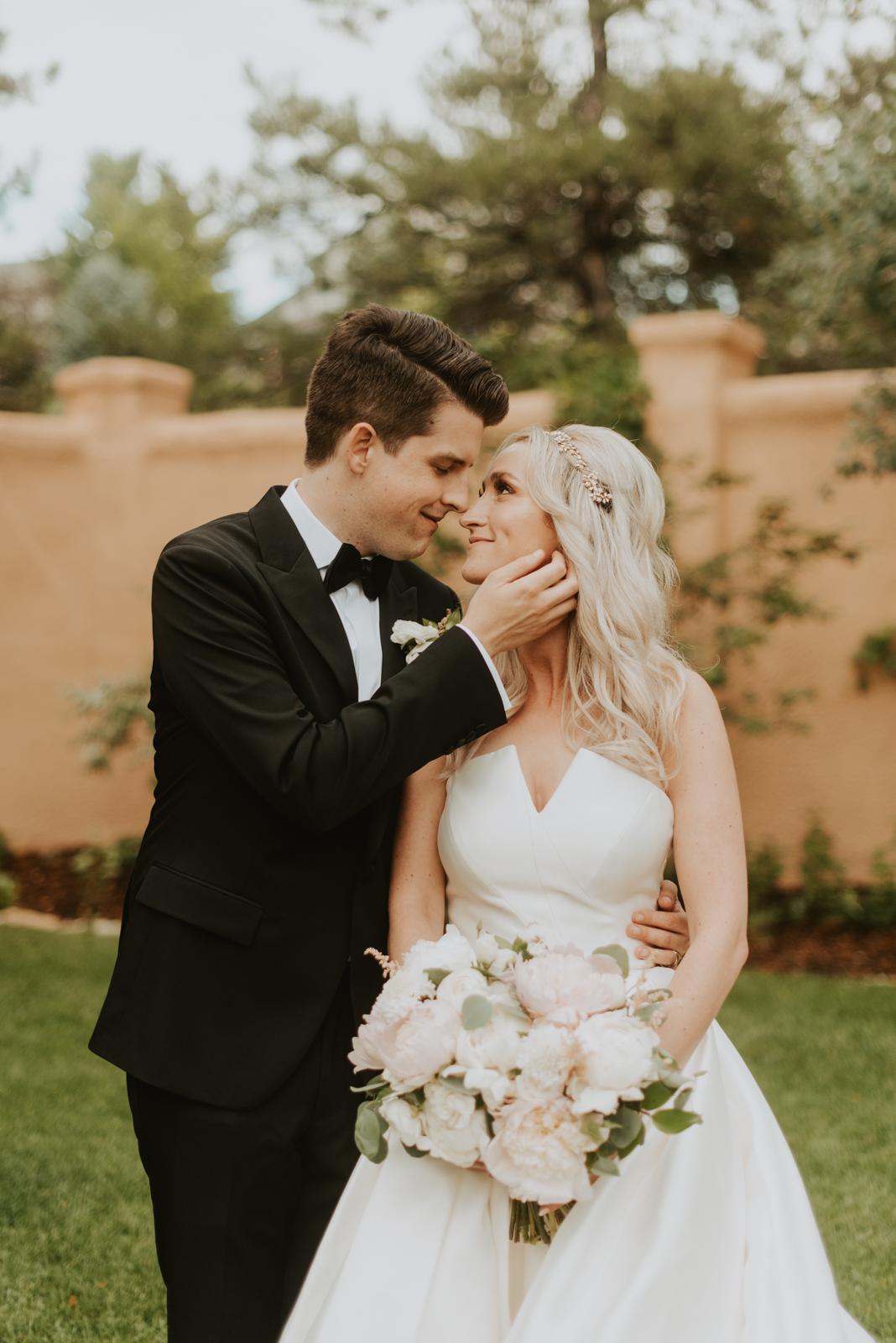 bride + groom portraits at their modern summer wedding at Villa Parker in Colorado.